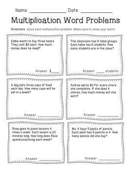Multiplication Word Problems Freebie