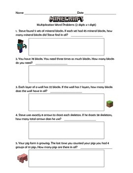 Multiplication Word Problems (Minecraft Inspired) 2 Digits