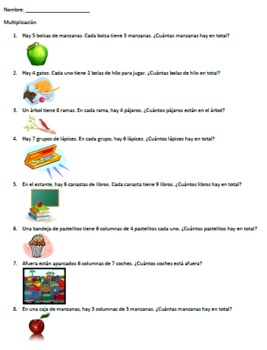 Multiplication Word Problems (SPANISH) by Laura Kelly | Teachers ...