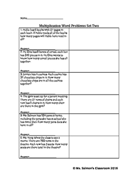 Multiplication Word Problems Set Two