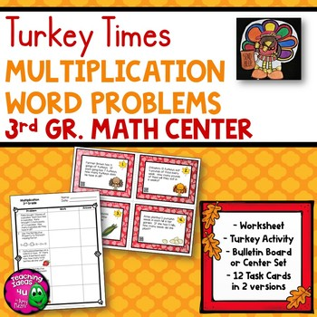 Multiplication Word Problems Task Card Math Center & Turke