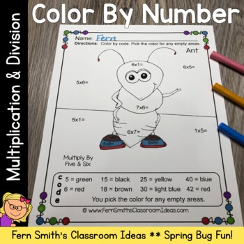 Color By Numbers Spring Bug Fun Multiplication and Division