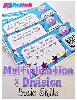 Multiplication and Division Basics QR Code Task Cards in SPANISH