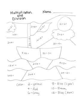 Multiplication and Division Coloring Page