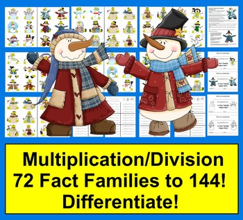 Winter Math:  Multiplication and Division Fact Families -