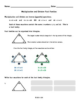 Multiplication and Division Fact Family Triangles Worksheet