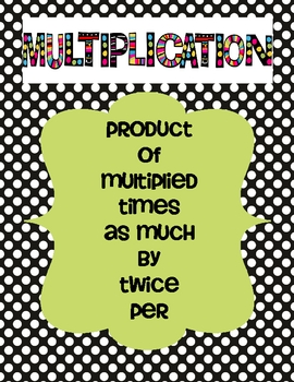 Multiplication and Division Key Words Poster Set