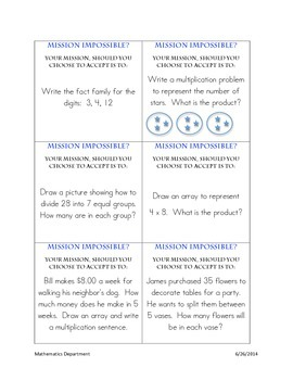 """Multiplication and Division """"Mission Impossible"""" Task Cards"""