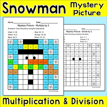 Winter Math Multiplication and Division Mystery Picture - Snowman