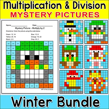 Winter Math Multiplication and Division Bundle: Penguin, S