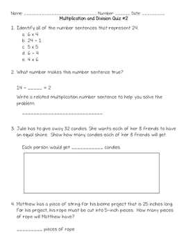 Multiplication and Division Quiz #2