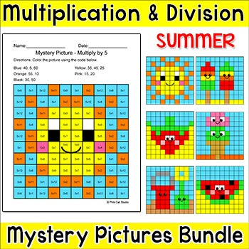 Summer Multiplication and Division Hidden Pictures - Water