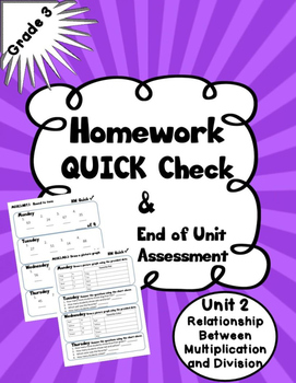 Multiplication and Division Unit 2 Homework Quick Check an