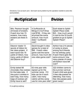 Multiplication and Division Word Problem Sort FREE