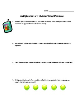 Multiplication and Division Word Problems - 3rd Grade