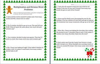 Multiplication and Division Word Problems- Christmas
