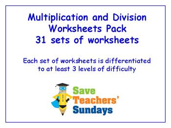 Multiplication and Division Worksheets Bundle/Pack (31 set