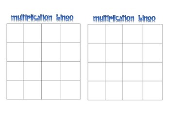 Multiplication and Subject Bingo Blank Templates