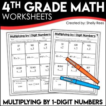 Multiplication (by 1 Digit Numbers) Worksheets