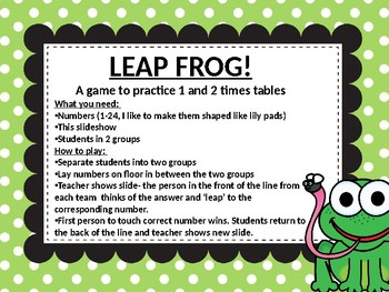 Multiplication leap frog game