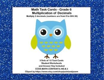 Multiplication of Decimals-Grade 6- Math Task Cards CCSS.6.NS.B.3