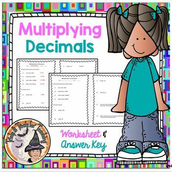 Multiplication of Decimals Practice Homework Worksheet