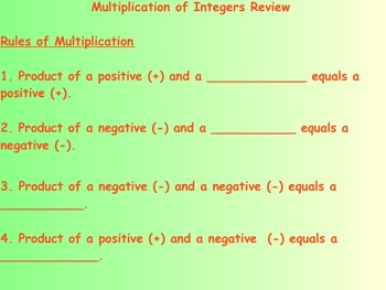 Multiplication of Integers Review and Practice Problems on