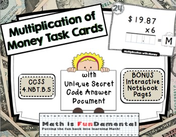 Multiplication of Money Task Cards with Self-checking Code
