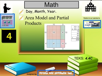 Multiplication of two digit numbers using the area model a