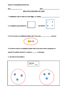 Multiplication pre/post test