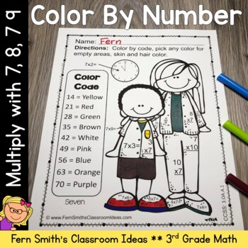 Color By Numbers Multiplication with 7 8 and 9 Color By Co