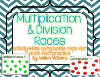 Multiplication/Division Bottle Cap Racing Mats