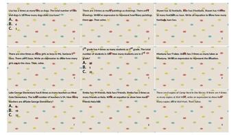 Multiplicative Comparison Bingo Word Problems