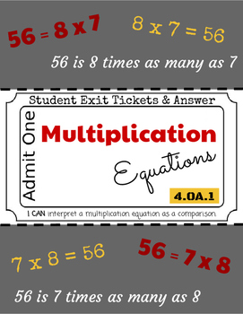 Multiplicative Comparisons - Exit Tickets & Answers - 4.OA