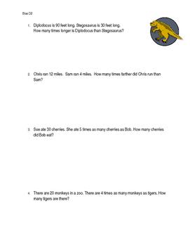 Multiplicative comparisons worksheet 4.OA.A.1