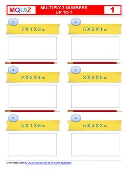 Multiply 3 Numbers up to 7 - Open Ended with Solutions