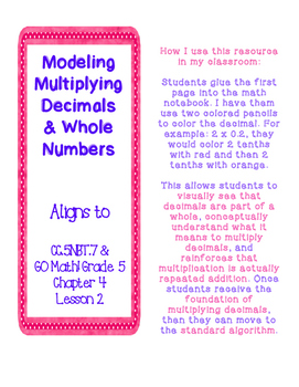 Multiply Decimals and Whole Numbers- MODELING