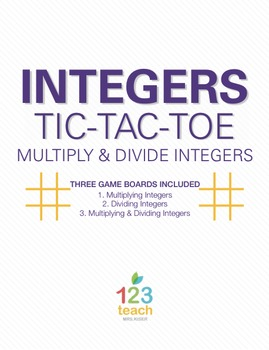 Multiply & Divide Integers Review Activity - Partner Tic Tac Toe