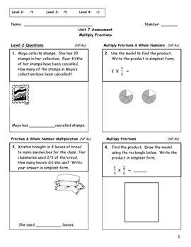 Multiply Fractions Assessment - 5th Grade