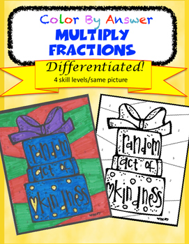 Multiply Fractions Color by Answer Differentiated