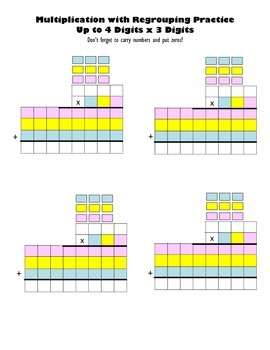 Multiply Up to 4 Digits x 3 Digits Blank Worksheets Multip
