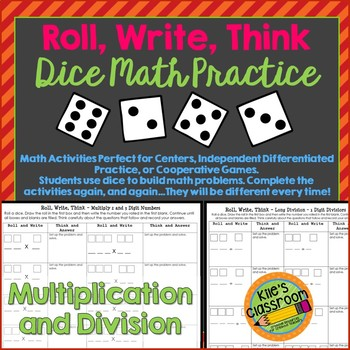 Multiply and Divide Larger Numbers Dice Math Skills Activity