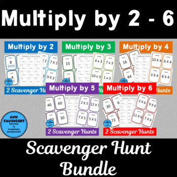 Multiply by 2, 3, 4, 5, and 6 Scavenger Hunts Bundle with
