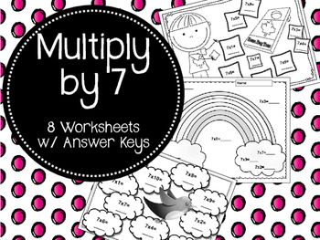 Multiply by 7. Seven Times Tables. Mutipication Review Wor
