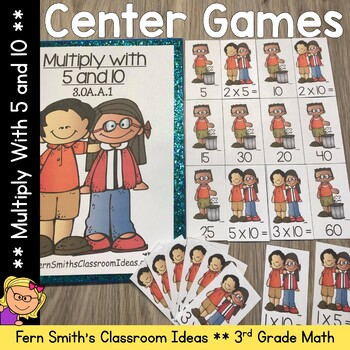 Multiplication with 5 and 10 Center and Printables