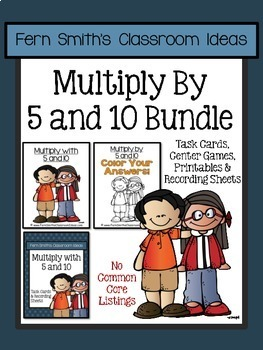 Multiply with 5 and 10 Task Cards Center Games and Color B
