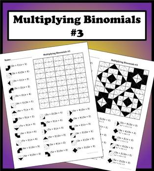 Multiplying Binomials Color Worksheet #3