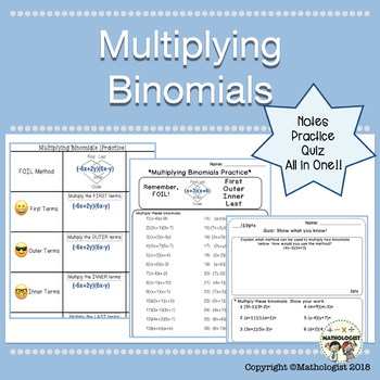 Multiplying Binomials, Algebra Worksheets