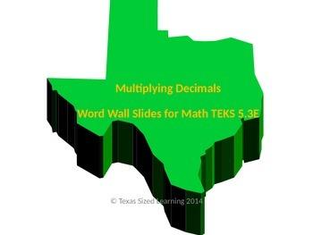 New Math TEKS 5.3E Multiplying Decimals Vocabulary and Wor