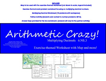Multiplying Decimals with Real World Questions & Map +  Pa
